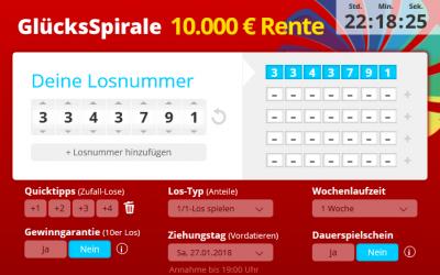 Glücksspirale hat die die Sofortrente jetzt auf ganze 10.000 Euro erhöht.